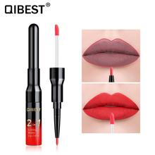 2 in 1 Double Head Liquid Matte Lipstick Lip Gloss & Liner Waterproof Nude Set Lipgloss Mate stick Pen Makeup