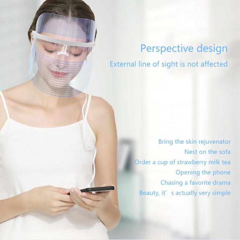 Light Therapy Facial Mask Anti Acne Wrinkle Facial Machine Device Skin Rejuvenation Moisturizing LED Mask Beauty 3 Color