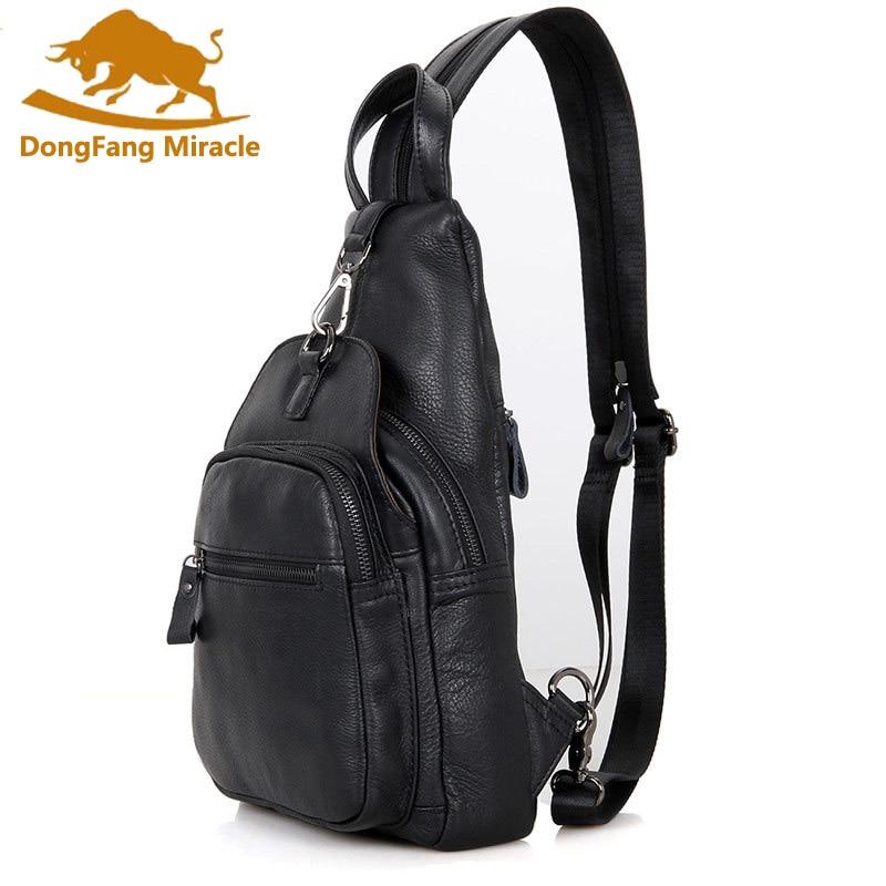 100 Genuine Leather Unisex Backpack Casual Chest Pack Vintage Men Students School Bags Women Shoulder Bag