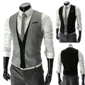 New 2014 Spring Men Faux 2 Piece Suit Vest Slim Fit Mens Casual Waistcoat Business Jacket Tops 3 Buttons Free Shipping M-XXL