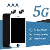 10 unids AAA Alta Pantalla LCD de Pantalla Para el iphone 5 5G 4 pulgadas Sin Punto Muerto Blanco Negro Asamblea Del Digitizador de Reparación de Teléfonos Móviles partes