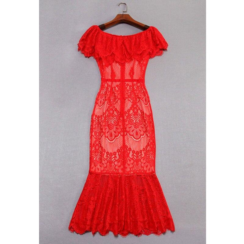 Pour Piste En Fishtail Robe Sirène Moulante Ruches Fête Dentelle Sexy Rouge Vêtements De Taille Dames Encolure Arc Élégante R0wRdpUq
