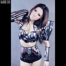 Black modern avant-garde silver mirror face split suit nightclub bar concert DJ singer/dancer costume