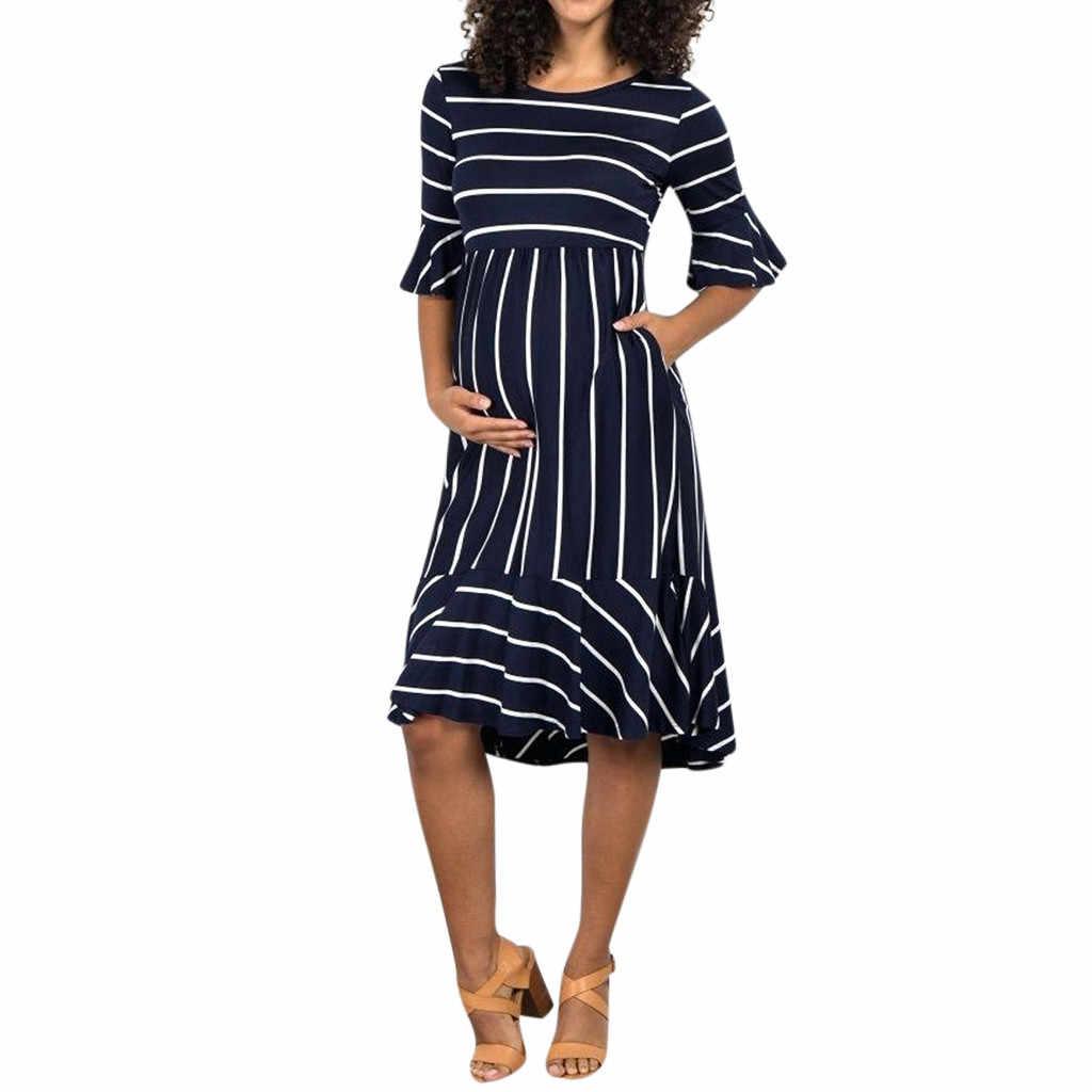 4299e0c30465a 2019 Women Maternity Dresses Mother pregnancy dress Flare Sleeve Striped  Pregnancy Summer Sundress pregnant dress Dropshipping