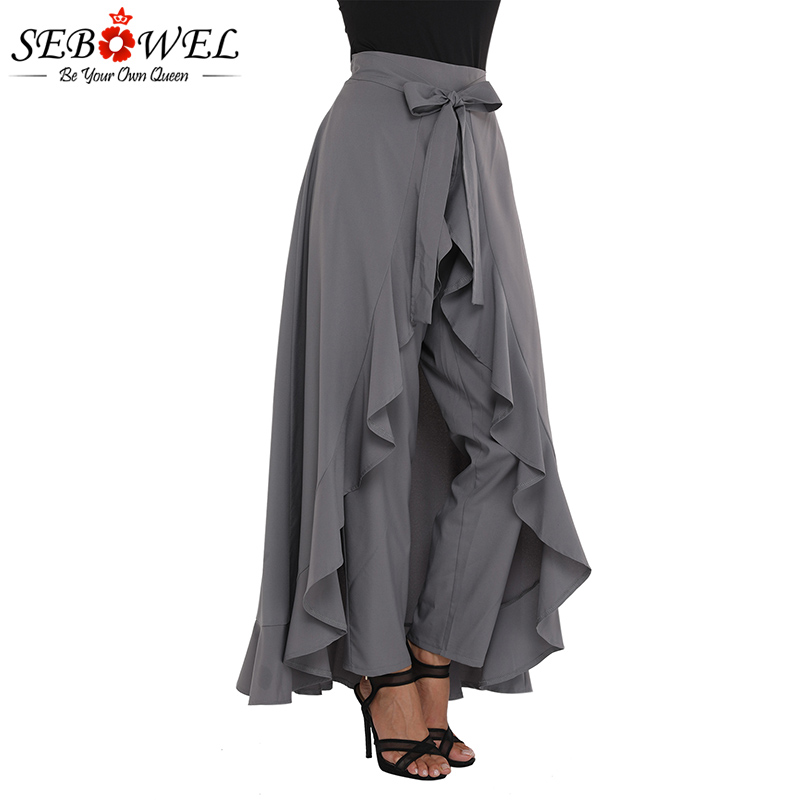SEBOWEL Women Wide Leg Pants Grey Chiffon Palazzo Pants Pantalones Trousers Female Plus Size High Waist Tie Ruffle Black Pants