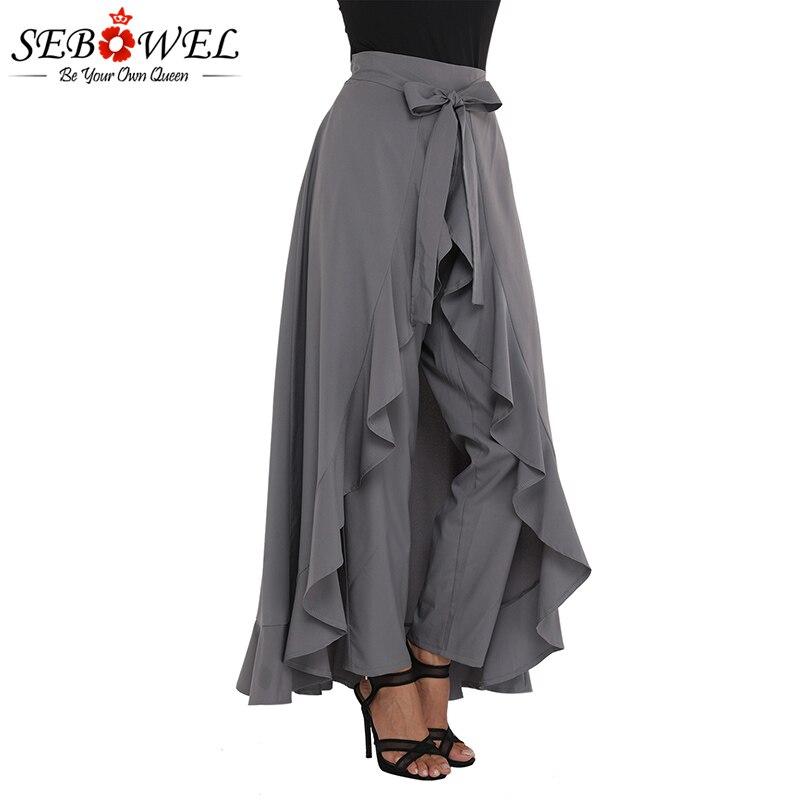 SEBOWEL Women Wide Leg Pants Grey Chiffon Palazzo Pants Pantalones Trousers Female Plus Size High Waist Tie Ruffle Black Pants