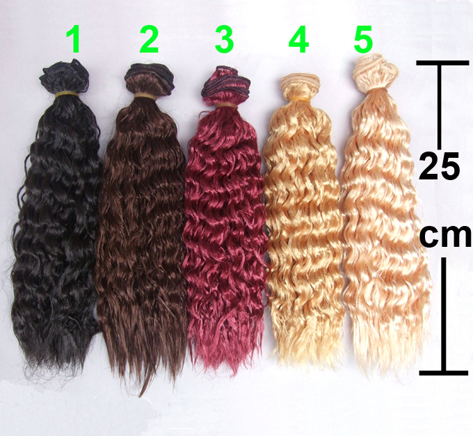 25cm black gold blown khaki bjd small curly thick doll hair 1/3 1/4 1/6 BJD extension SD OD BJD wigs diy fashion black hair extension fur wig 1 3 1 4 1 6 bjd wigs long wig for diy dollfie