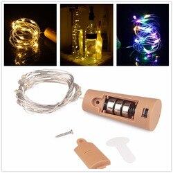 Hause Dekorative Lichter 1 mt 2 mt Corker Kupfer Draht String Licht Girlande Weihnachten Fairy Lichter für Glas Handwerk Flasche dekoration