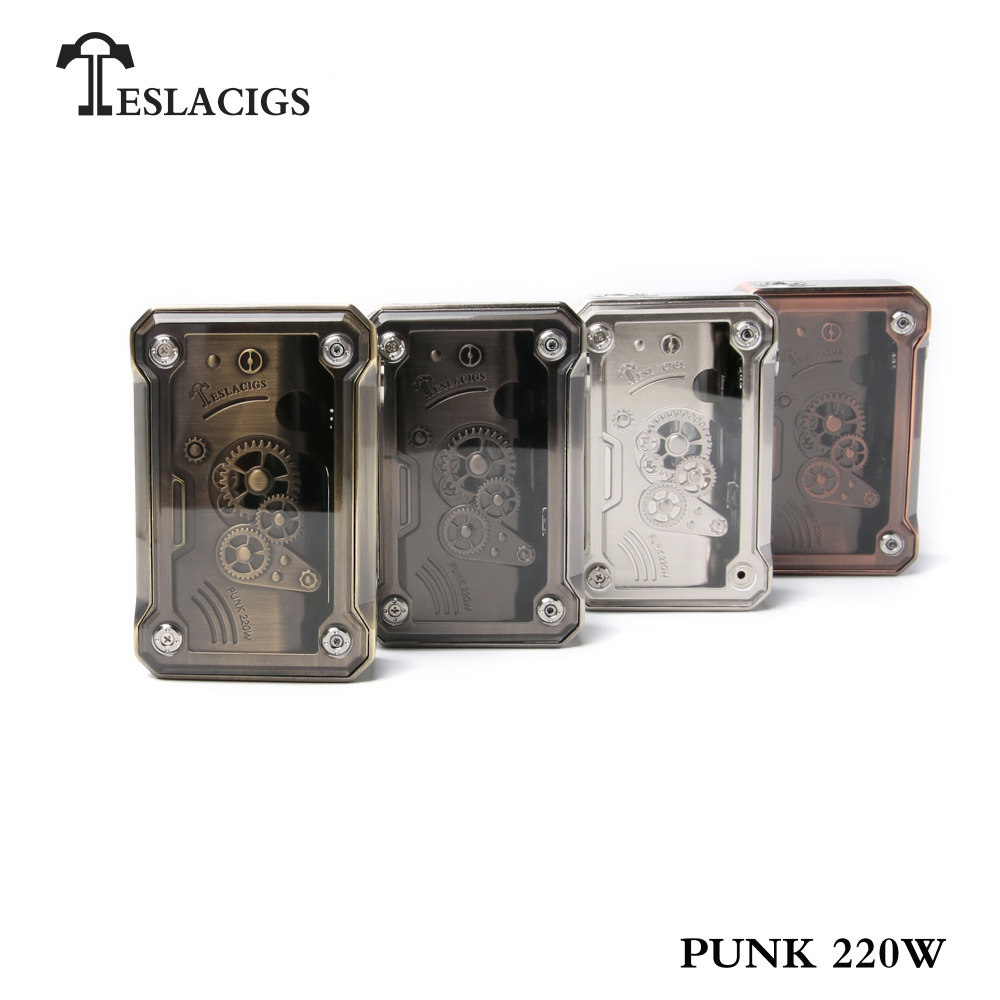 Authentic Tesla Punk 220W TC VW Box Mod Zinc Alloy + ABS + PC Switch Placement flamingo linen placement