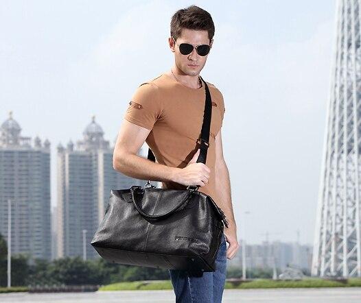 Svart / Brun 100% Garanterad äkta läder topp cowhide män läder - Väskor för bagage och resor - Foto 4