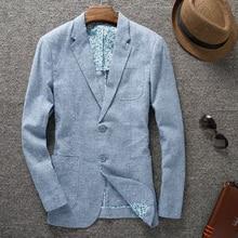 Новое поступление Весенняя и летняя верхняя одежда тонкий большой костюм мужской повседневный одиночный Тонкий льняной мужской размера плюс M L XL 2XL 3XL 4XL