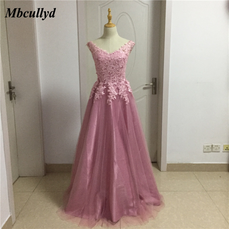 ce04b0a076 US $59.5 50% OFF|Mbcullyd Long Floor Length Wedding Guest Dresses 2018  Applique Lace Dark Pink Bridesmaid Dress Sexy Backless Dress for Wedding-in  ...