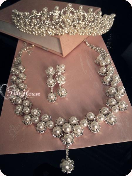 Christmas 18K White Gold Plated crystal Pearl jewelry set Bridal