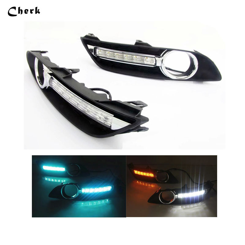 2pcs LED DRL Day Light For Nissan Sylphy Sentra 2013 2014 2015 2016 Daytime Running Light Fog Lamp With Yellow Turn Signals