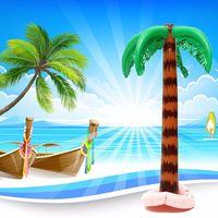 Funny Jungle Toy Inflatable Hawaiian Tree Large Inflatable For Coconut Tree For Hawaiian Summer Beach Party