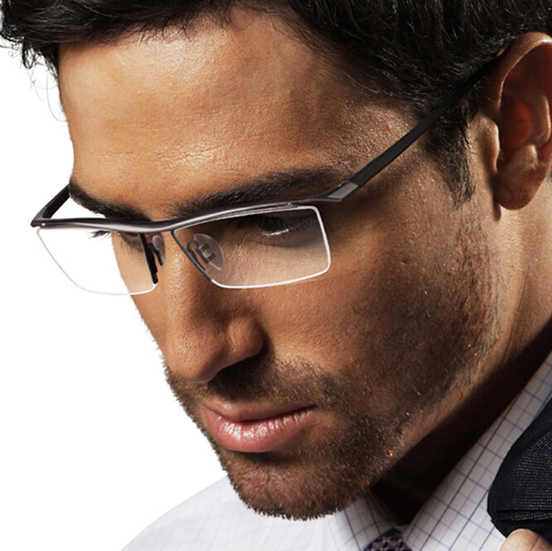 Mens Eyeglass Frames Pure Titanium Half Rimless Business Rx able