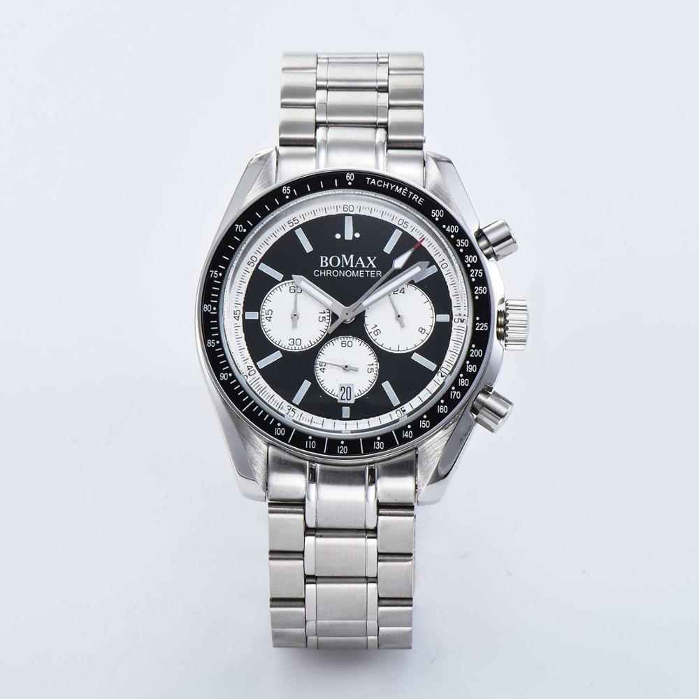 Chronograph watch luminous hands 40mm japan quartz movement date steel Strap bracelet black Rotating bezel R-02
