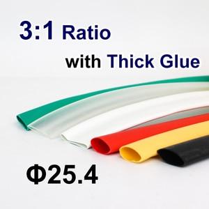 1.22 metri/lotto 25.4 millimetri 3:1 di Calore Del Tubo Termoretraibile con Colla Rivestimento Adesivo A Doppia Parete Shrink Tubing Wrap Cable Wire kit