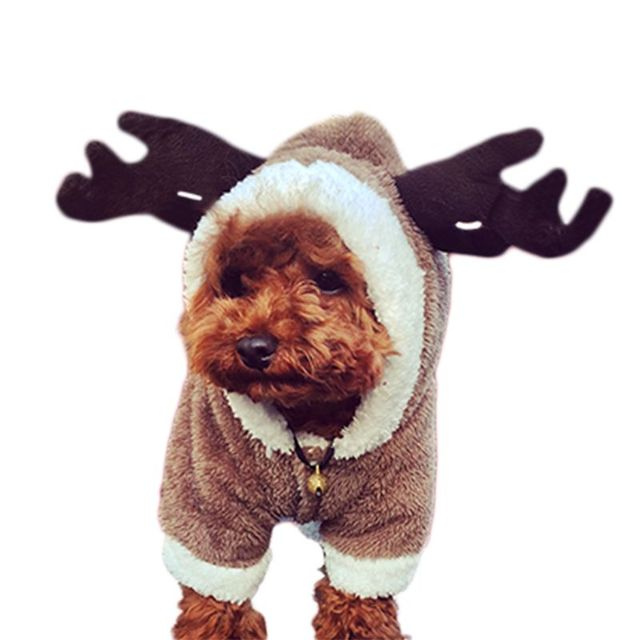 4ae54d041877 Christmas small dog clothes coat pet clothes winter warm flannel material clothes  four legs deer elk and dinosaur costume