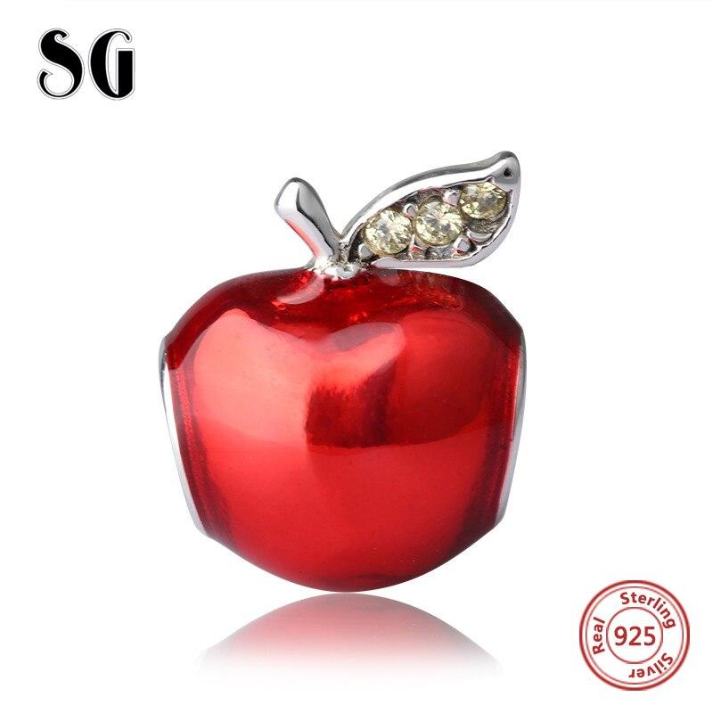 2017 925 Sterling Argent Rouge Émail Apple Perles Fit pandora Charm Bracelet Authentique bricolage artisanat fabrication de Bijoux pour le Cadeau De Noël