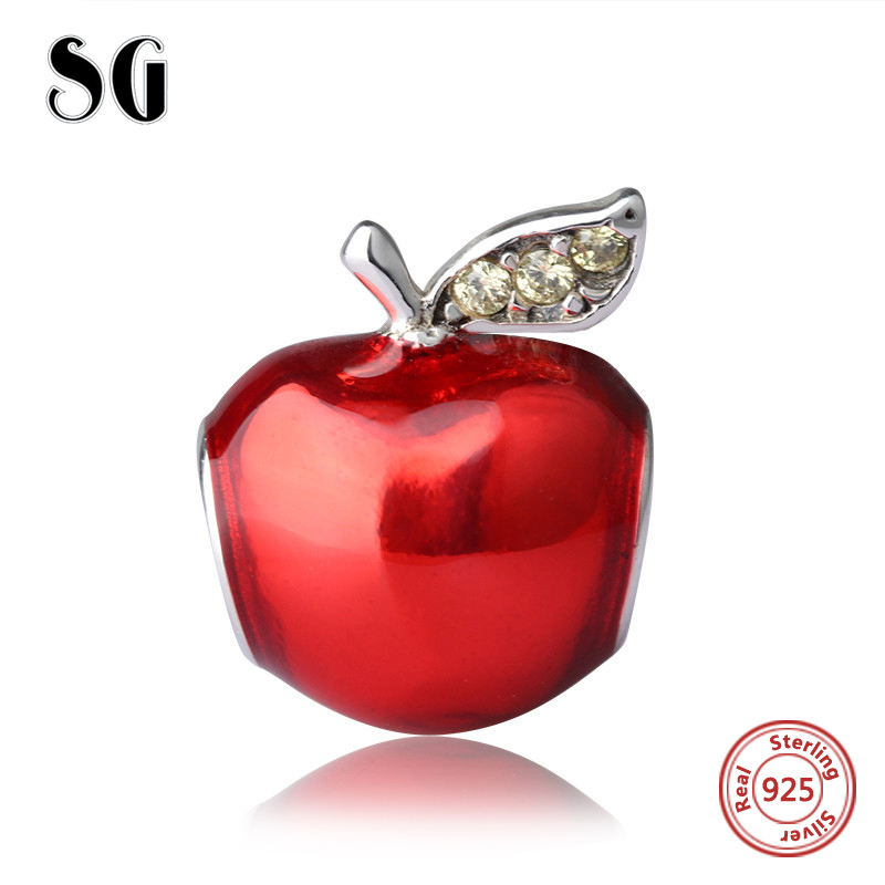 2017 925 Sterling Silver Red Enamel Apple Beads Fit pandora Charm Bracelet Authentic diy craft Jewelry making for Christmas Gift