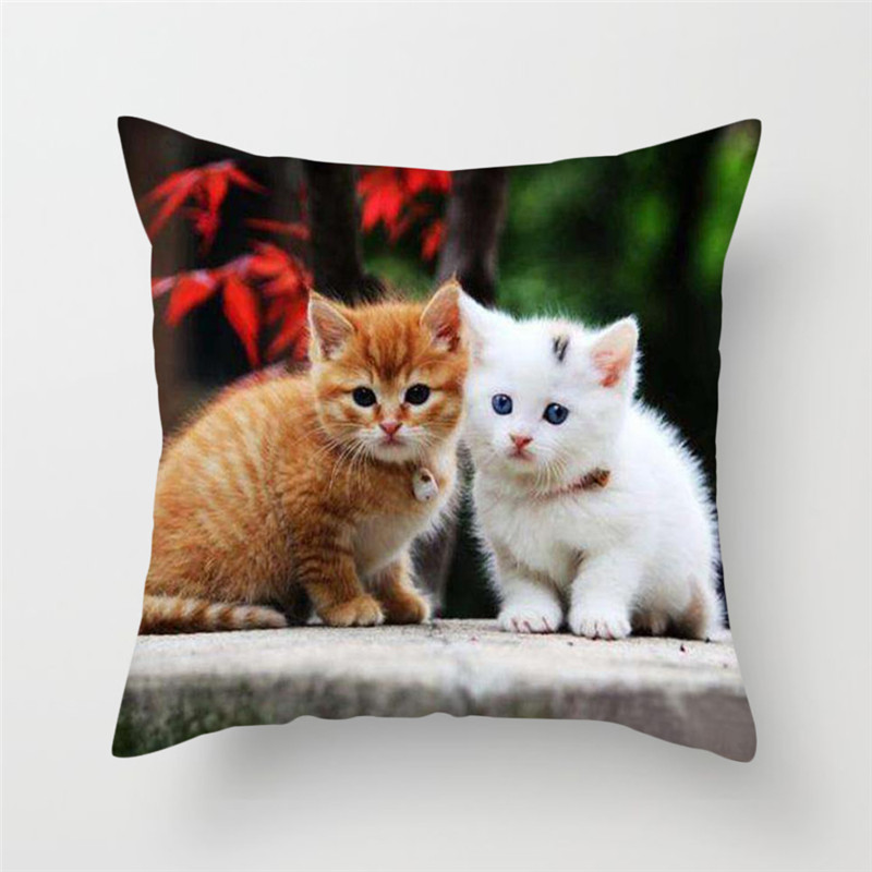 Fuwatacchi 3D Cat lovely Cat Print Decor Cushion Cover Animal Cartoon Cat Pillowcase Sofa Chair Home Decor throw pillows Cover in Cushion Cover from Home Garden