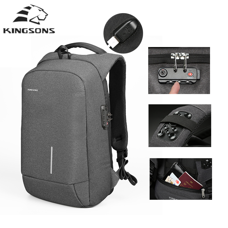 Kingsons fashion Anti Theft Backpack USB charging Waterproof Multifunction backpack 15 inches laptop bags with lock for teenager 15 6 17 inches man multi functional backpack external charging usb laptop backpack anti theft students waterproof travel bags