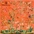 Tamanho: 130*130 cm Hot! sarja lenços de Seda das senhoras 2017 nova Outono flores e pássaros impressão digital de seda feminina cachecol xale atacado