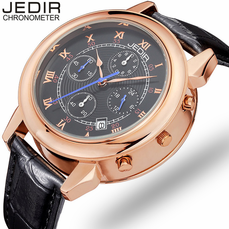 2017 JEDIR Luxury Men Sports Watches Chronograph Date 24 Hour Function Clock Male Leather Strap Quartz Watch relogio masculino new listing men watch luxury brand watches quartz clock fashion leather belts watch cheap sports wristwatch relogio male gift