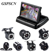 hot deal buy gspscn 4.3 inch tft lcd display monitor kit car foldable monitors car rearview monitors with car reverse led night vision camera