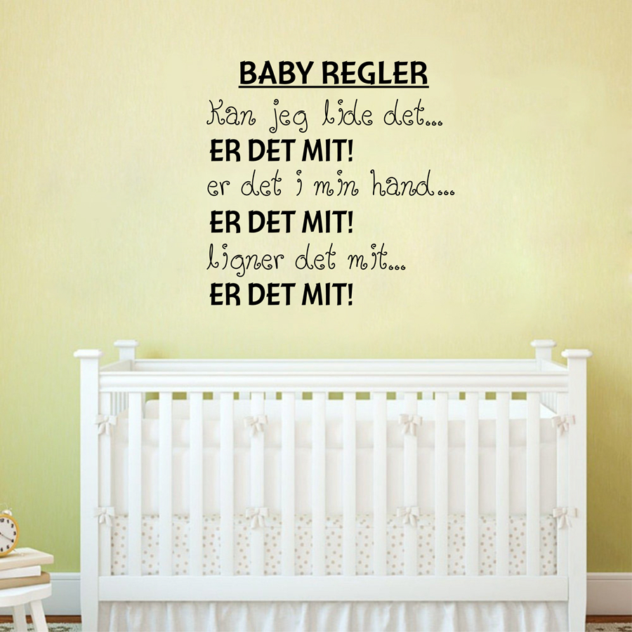 Us 7 08 6 Off Free Shipping Danish Baby Regler Vinyl Wall Decals Sticker For Nursery Decor Denmark Letter Art Home Decoration In