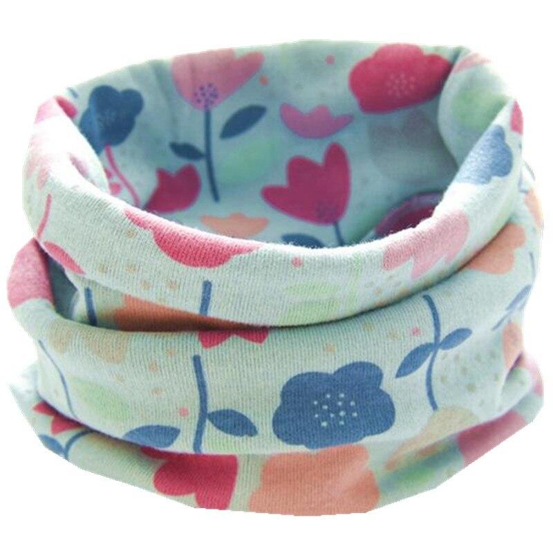 Новинка; сезон осень-зима; шарф из хлопка для девочек; Детский шарф; нагрудный шарф для мальчиков и девочек с круглым кольцом; милый детский шарф с воротником; Bufandas - Цвет: new blue flower