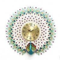 Настенные часы современный дизайн креативные высококачественные металлические настенные часы Peafowl подвесные украшения Гостиная Электрон