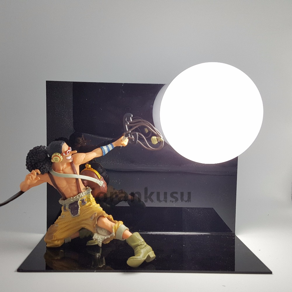 One Piece Usopp Action Figure Led Light Usopp Skill Model Toy 200mm One Piece Anime Usopp Figurine Table Lamp