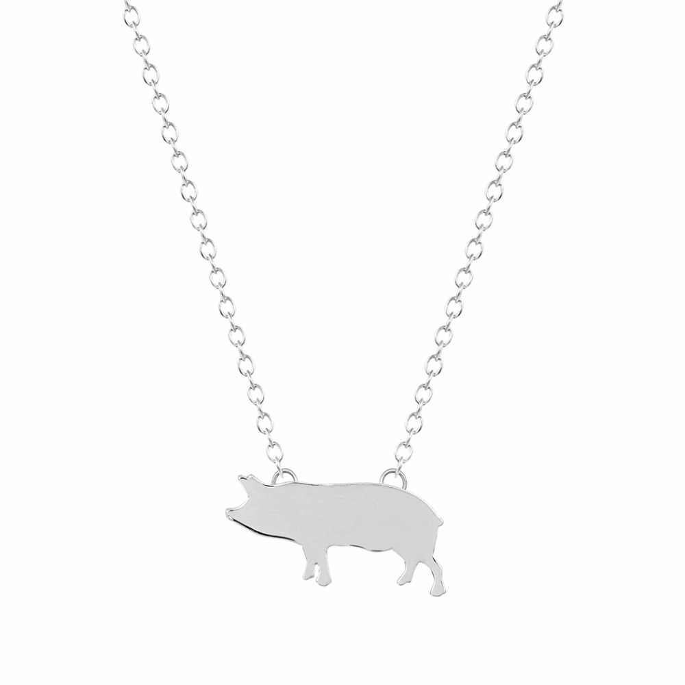 Kinitial Min 1pcs Gold Silver Plated Pig Necklace Paris Neckless for Women Jewelry Long Necklace Boho Design Nice jewelry