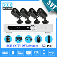 NVR Home 8CH H 264 Surveillance DVR 4pcs Weatherproof Security Camera CCTV System Kit Iphone Andriod