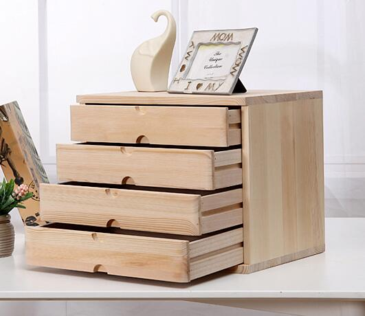 Office Makeup Organizer Desktop Debris Storage Box Real Wooden Jewelry  Storage Case Small Drawer Type Desk