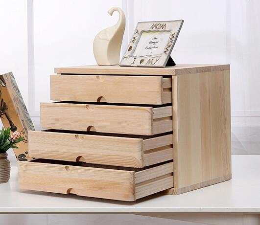 Office Makeup Organizer Desktop Debris Storage Box Real Wooden