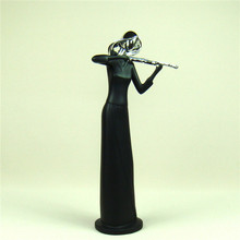 Abstract Female Violin Player Sculpture Handmade Resin Violinist Statuette Music Ornament Craft for Home Office and