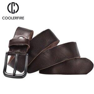Image 2 - Rugged full grain leather belt man casual vintage belts men genuine vegetable tanned cowhide original strap male girdle TM007