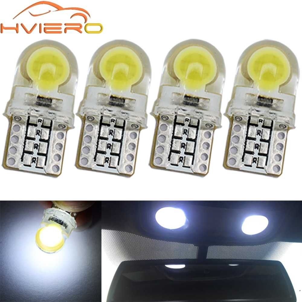 4X Auto T10 Led Cold White Blue Pink 194 W5W LED 168 COB Silica Car Super Bright Turn Side License Plate Light Lamp Bulb DC 12V