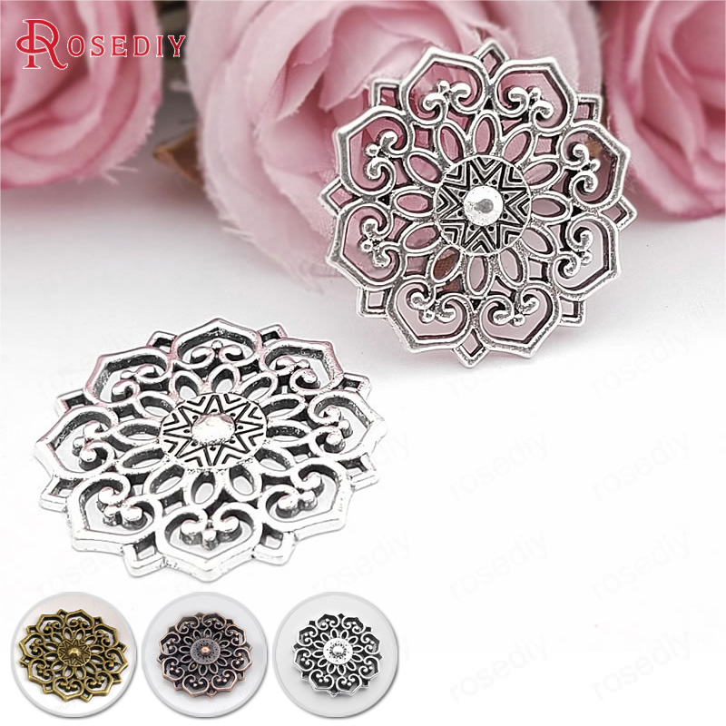 20PCS 20MM 31.5MM Antique Silver Color Zinc Alloy Big Decorative Flower Connect Charms Pendants Jewelry Findings Accessories