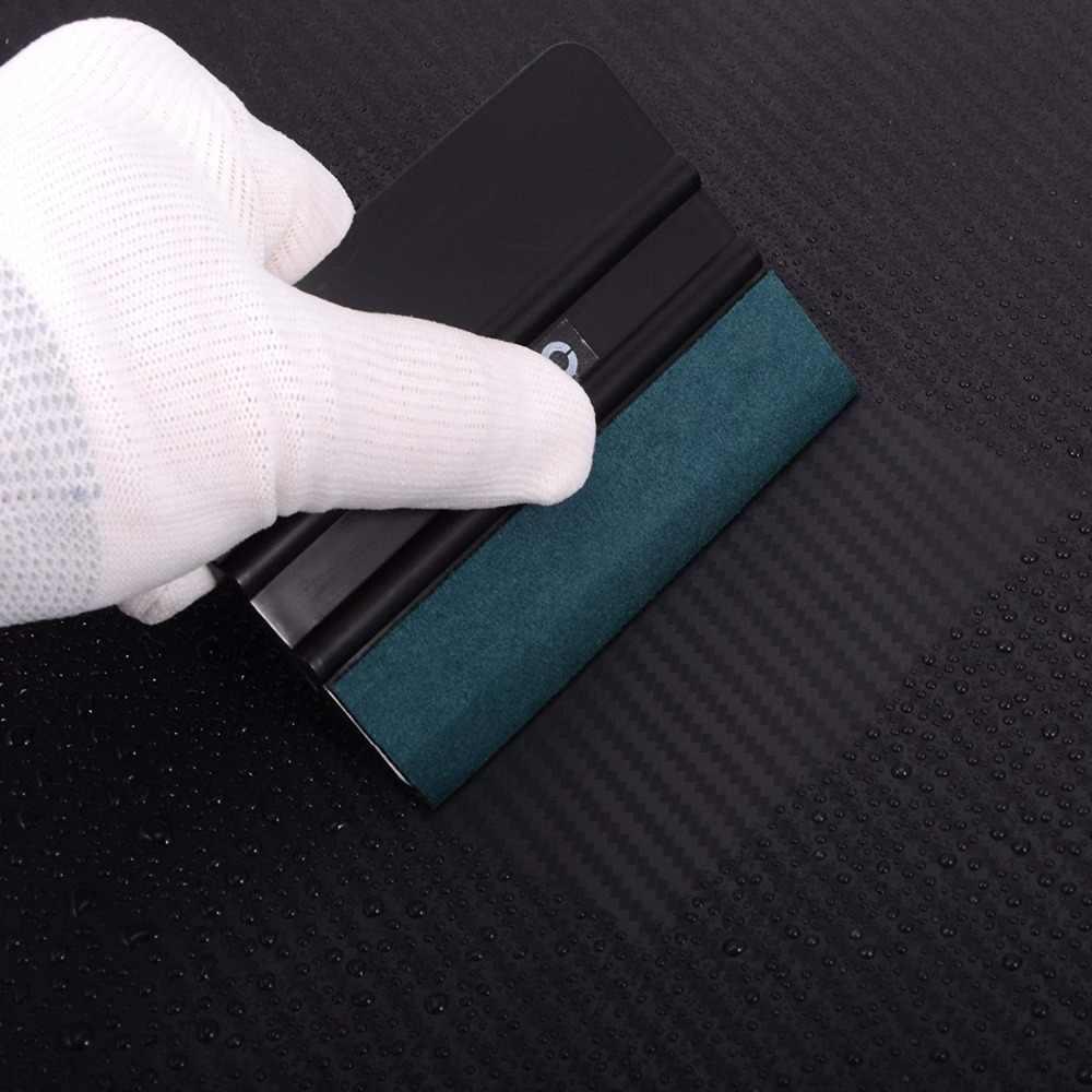 FOSHIO 3 шт. виниловый скребок из углеродного волокна, автомобильные инструменты без царапин, замшевая фетровая обертка, пинг наклейка скребка, пленка, обертка, инструмент для тонирования Авто окон