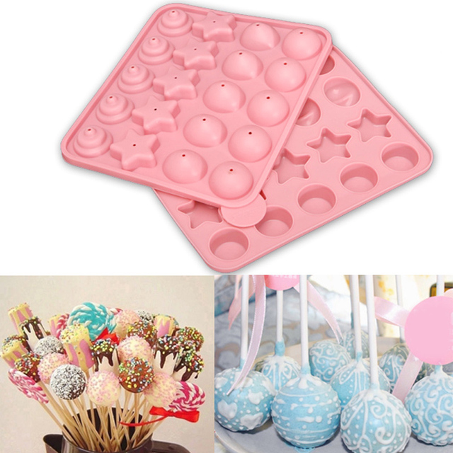 20 Cells Silicone Lollipop Lolly Mold Heart Star Ball Shaped Pop Mold Chocolate Cake Baking Mould With Stick DIY Ice Cream Tools