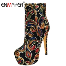 ENMAYER Woman Ankle boots Super high helel Fashion Winter Causal  Round toe Flower Thin heels Rubber Shoes CR61