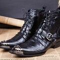 Personalizado de Luxo Mens Preto de Alta Top Sapatos de Couro Dos Homens Designer De Moda De Metal Rebites Dedo Do Pé Da Motocicleta Bota Fivela Cinta Plissado