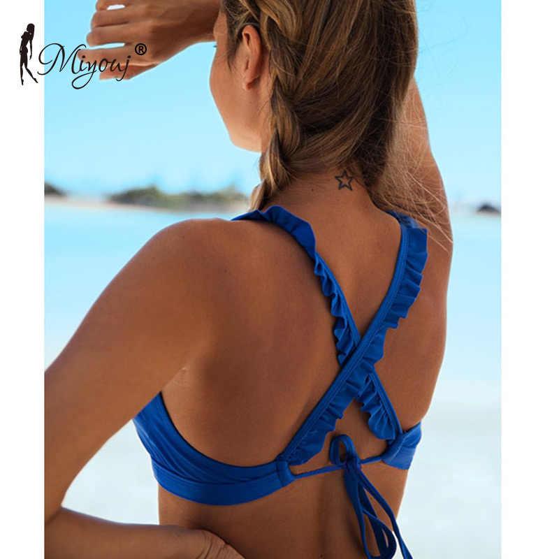 Miyouj biquíni de alta pescoço sólido bordado maiô plissado bandagem banho rendas até maiô feminino volta cruz floral lado