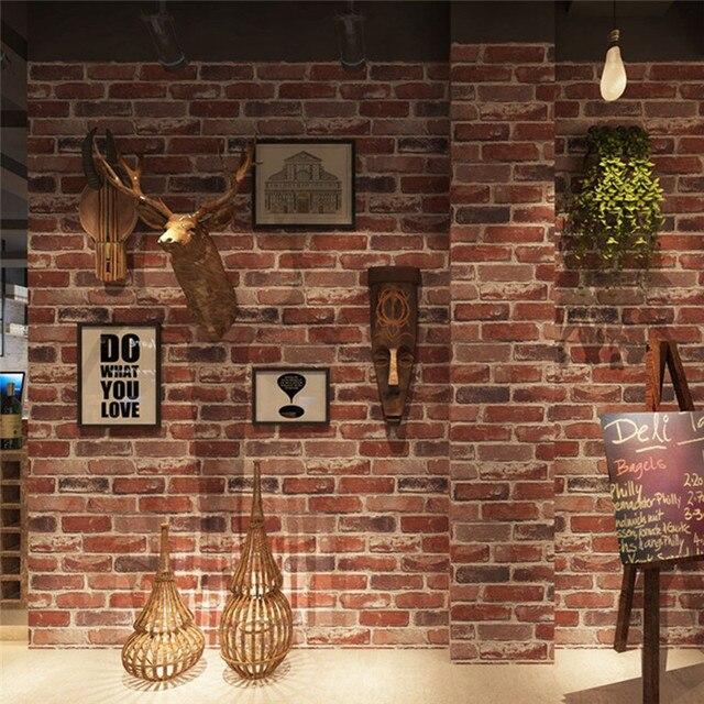 rustic vintage 3d faux brick wallpaper roll vinyl pvc stone wall