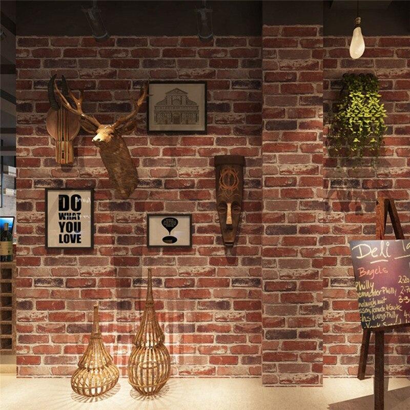 Rustic Vintage 3D Faux Brick Wallpaper Roll Vinyl PVC Stone Wall Paper For Restaurant Cafe Decor Colors Red Black Grey Wallpaper