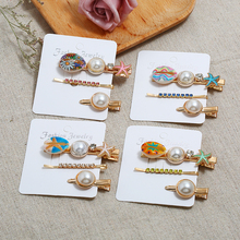 HOCOLE Fashion Pearl Gold Metal Hair Clips For Women Shell Star Crystal Rhinestone Hairpins Styling Accessories Headdress